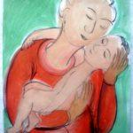 """Reihe """"Mutter und Kind"""" 42 mal 30 cm; Gouache; 2008"""